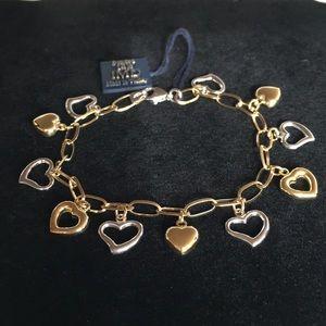 14K Gold Bonded Sterling Silver 2 Tone Bracelet